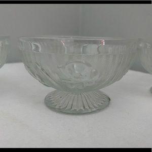 Vintage Kitchen - Depression Glass Iris & Herringbone Footed Bowls